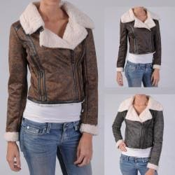 Ci Sono by Journee Juniors Wool Lined Faux Leather Jacket