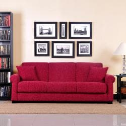 Portfolio Rio Convert-a-Couch Crimson Red Chenille Rolled Arm Futon Sofa Sleeper