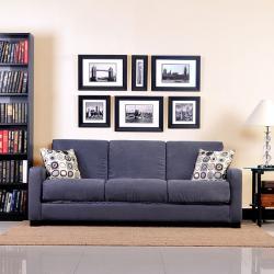 Portfolio Convert-a-Couch Trace Gray Microfiber Squared Arm Futon Sofa Sleeper