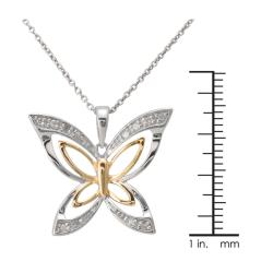 Sterling Silver 1/10ct TDW Two-tone Butterfly Pendant Necklace