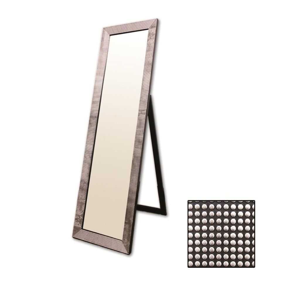 Rectangular Black with Pearl-like Studs Floor Mirror
