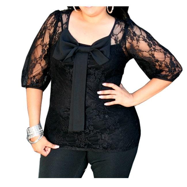 Tabeez Women's Plus Size Black Lace Bow Detail Top