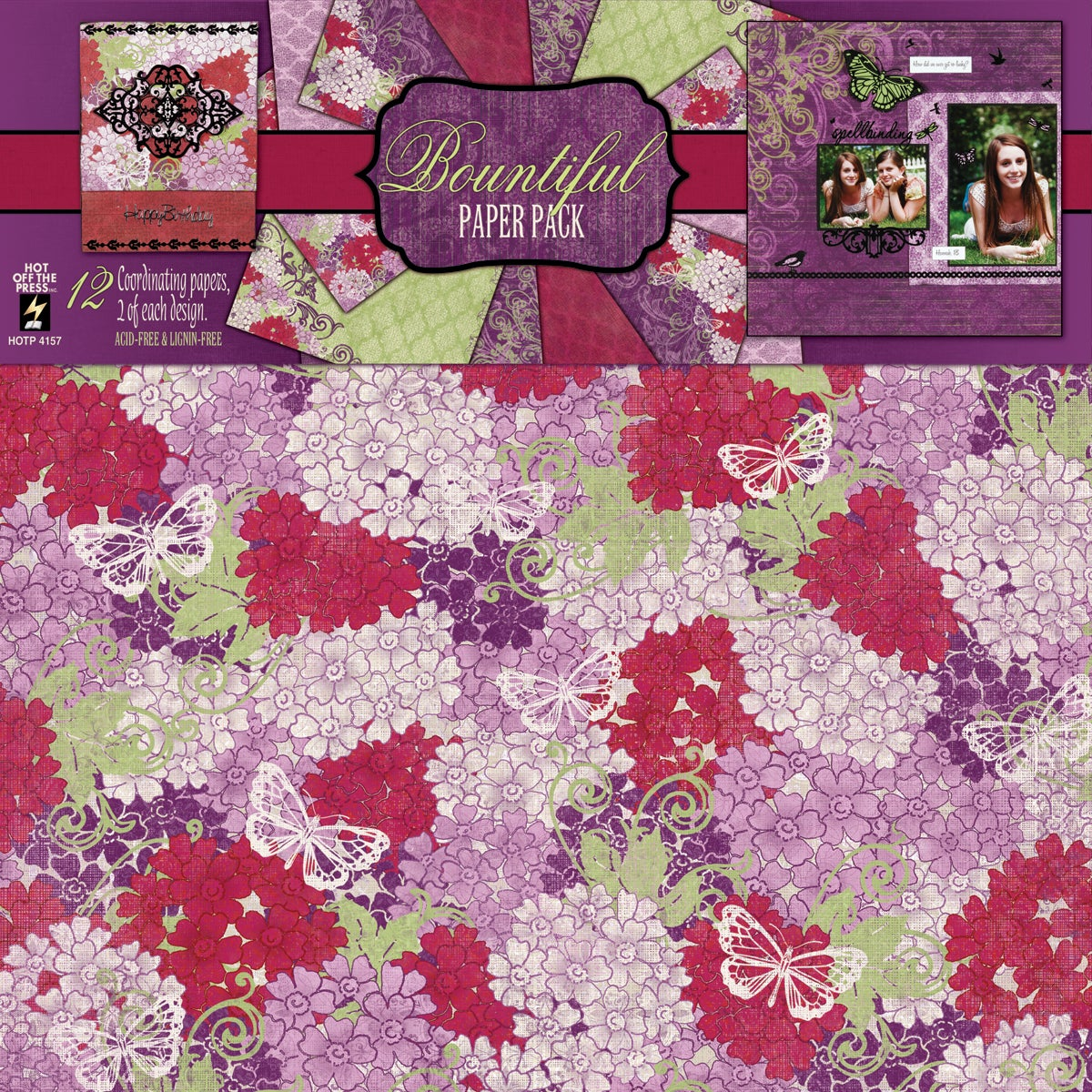 Bountiful 12x12 12 Sheets/ 6 Designs Paper Pack