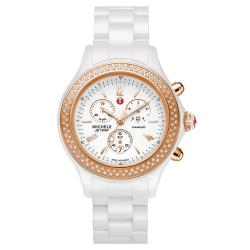 Michele Women's 'Jetway' White Ceramic Diamond Rose Gold Watch