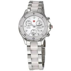 Michele Women's 'Tahitian' White Ceramic Stainless Steel Chronograph Watch