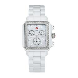 Michele Women's Diamond White Ceramic Watch