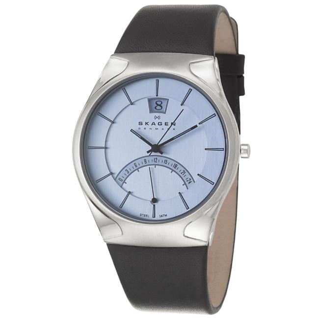 Skagen Men's 'Classic' Stainless Steel and Black Leather Quartz Watch