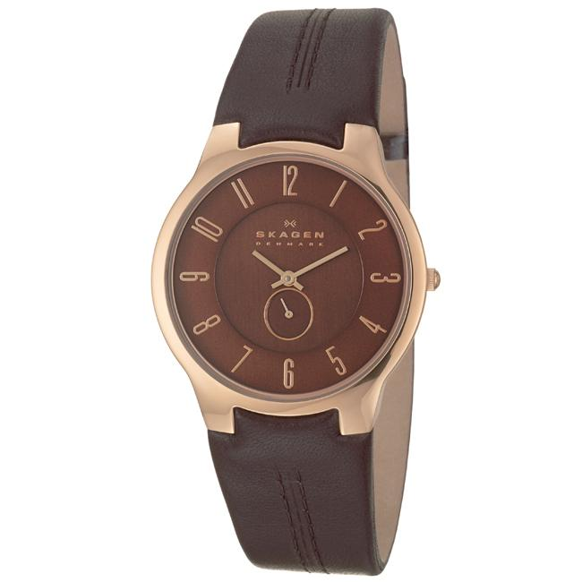 Skagen Men's 'Leather' Rose Goldplated Stainless Steel and Dark Brown Leather Quartz Watch