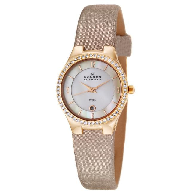 Skagen Women's 'Glitz' Rose Goldplated Stainless Steel and Champagne Fabric Crystals Quart