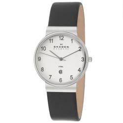 Skagen Men's 'Classic' Stainless Steel and Black Leather Quartz Date Watch