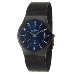Skagen Men's 'Mesh' Black Stainless Steel Quartz Date Watch