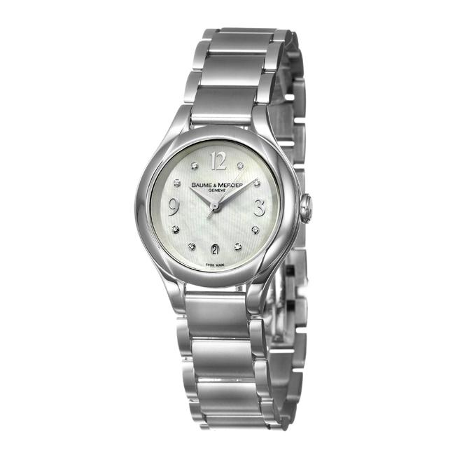 Baume & Mercier Women's 'Ilea' Stainless Steel Diamonds Quartz Date Watch