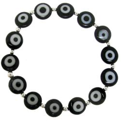 Sterling Silver Black Acrylic 'Evil Eye' Stretch Bracelet