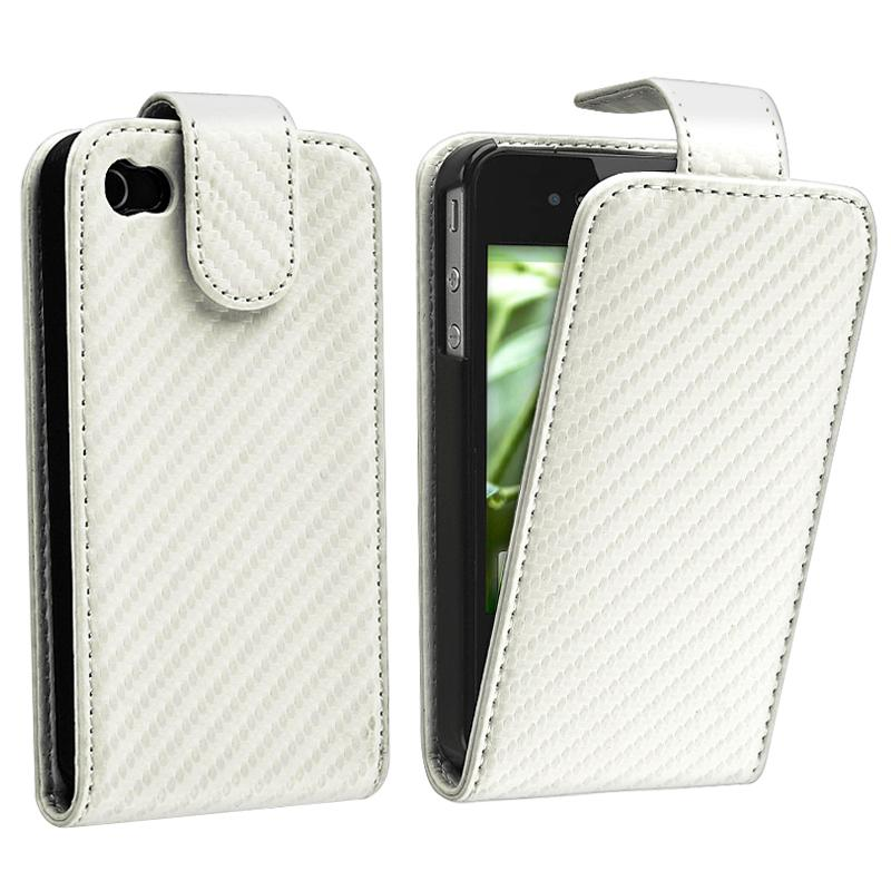 White Carbon Fiber Leather Case for Apple iPhone 4