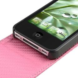 Pink Carbon Fiber Leather Case for Apple iPhone 4