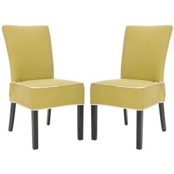 Safavieh Classical Burton Gold Green Slipcover Side Chairs (Set of 2)