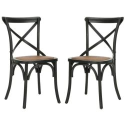 Classical Bradford X Back Antiqued Black Side Chairs (Set of 2)