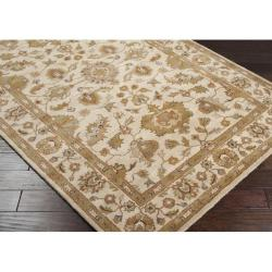 Hand-tufted Stockton Ivory Floral Border Wool Rug (7'6 x 9'6)