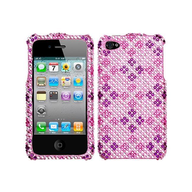 Premium Apple iPhone 4/ 4S Plaid Pink/ Purple Rhinestone Case