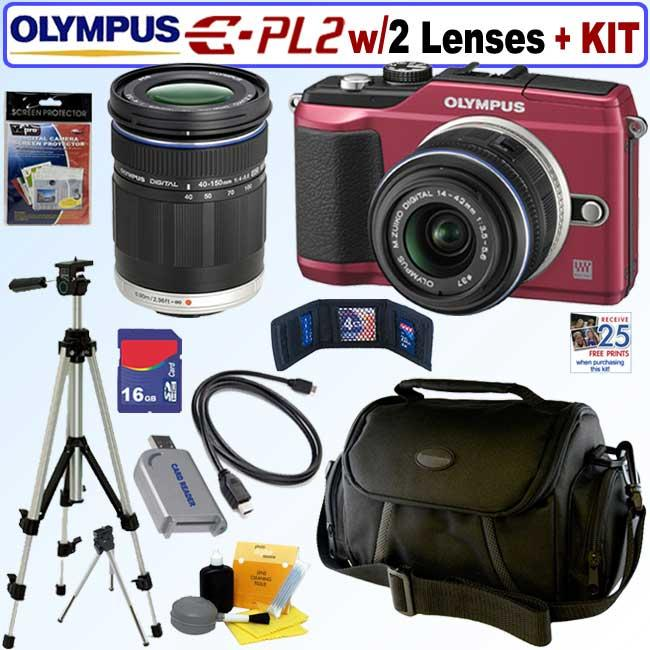 Olympus Pen E-PL2 12.3MP DSLR Camera with 14-42MM II/ 40-150 Lenses and 16GB Kit