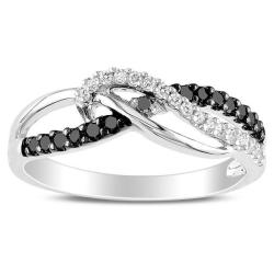 Sterling Silver 1/4ct TDW Black and White Diamond Ring (H-I, I3)