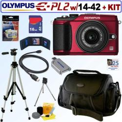 Olympus Pen E-PL2 12.3MP DSLR Camera and 14-42 II Lens with 16GB Kit