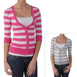 Journee Collection Junior's Striped 3/4-sleeve Cardigan