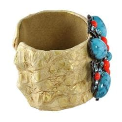 Lillith Star Goldtone Turquoise, Coral and Crystal Cross Cuff Bracelet