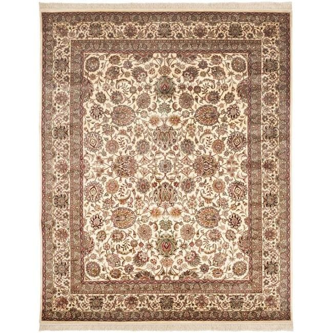 Asian Hand-knotted Royal Kerman Ivory Wool Rug (5' x 7'6)
