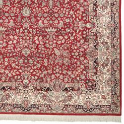 Asian Hand-knotted Royal Kerman Red and Ivory Wool Rug (5' x 7'6)