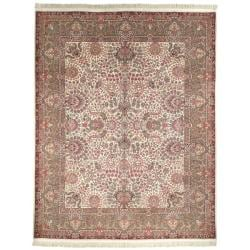 Large Asian Hand-Knotted Royal Kerman Ivory Wool Rug (12' x 15')