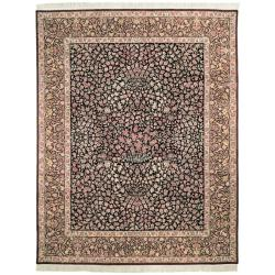 Asian Hand-knotted Royal Kerman Black and Red Wool Rug (12' x 15')