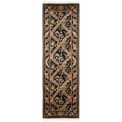 Asian Hand-knotted Royal Kerman Black Wool Rug (2'6 x 10')