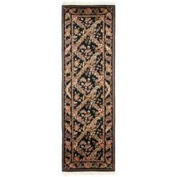 Asian Hand-knotted Royal Kerman Black Wool Rug (2'6 x 16')