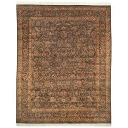 Asian Hand-knotted Royal Kerman Grey Wool Rug (5' x 7')