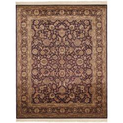Asian Hand-knotted Royal Kerman Purple Wool Rug (5' x 7')
