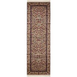 Asian Hand-Knotted Royal Kerman Ivory Traditional Wool Rug (2'6 x 10')