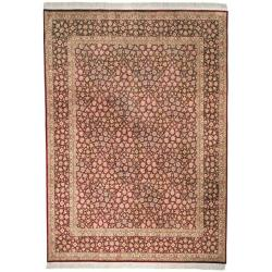 Asian Hand-knotted Royal Kerman Red Wool Rug (5' x 7')