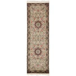 Asian Hand-knotted Royal Kerman Ivory and Navy Wool Rug (2'6 x 10')