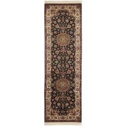 Asian Hand-knotted Royal Kerman Black and Ivory Wool Rug (2'6 x 10')