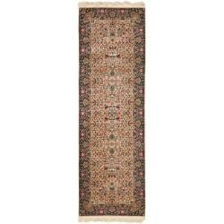 Asian Hand-knotted Royal Kerman Ivory and Green Wool Rug (2'6 x 10')
