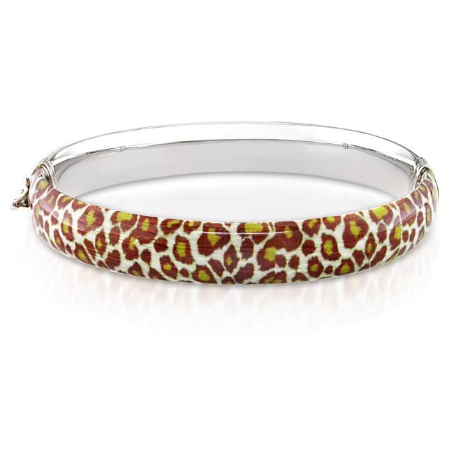 Sterling Silver Leopard Animal-Print Bangle Bracelet