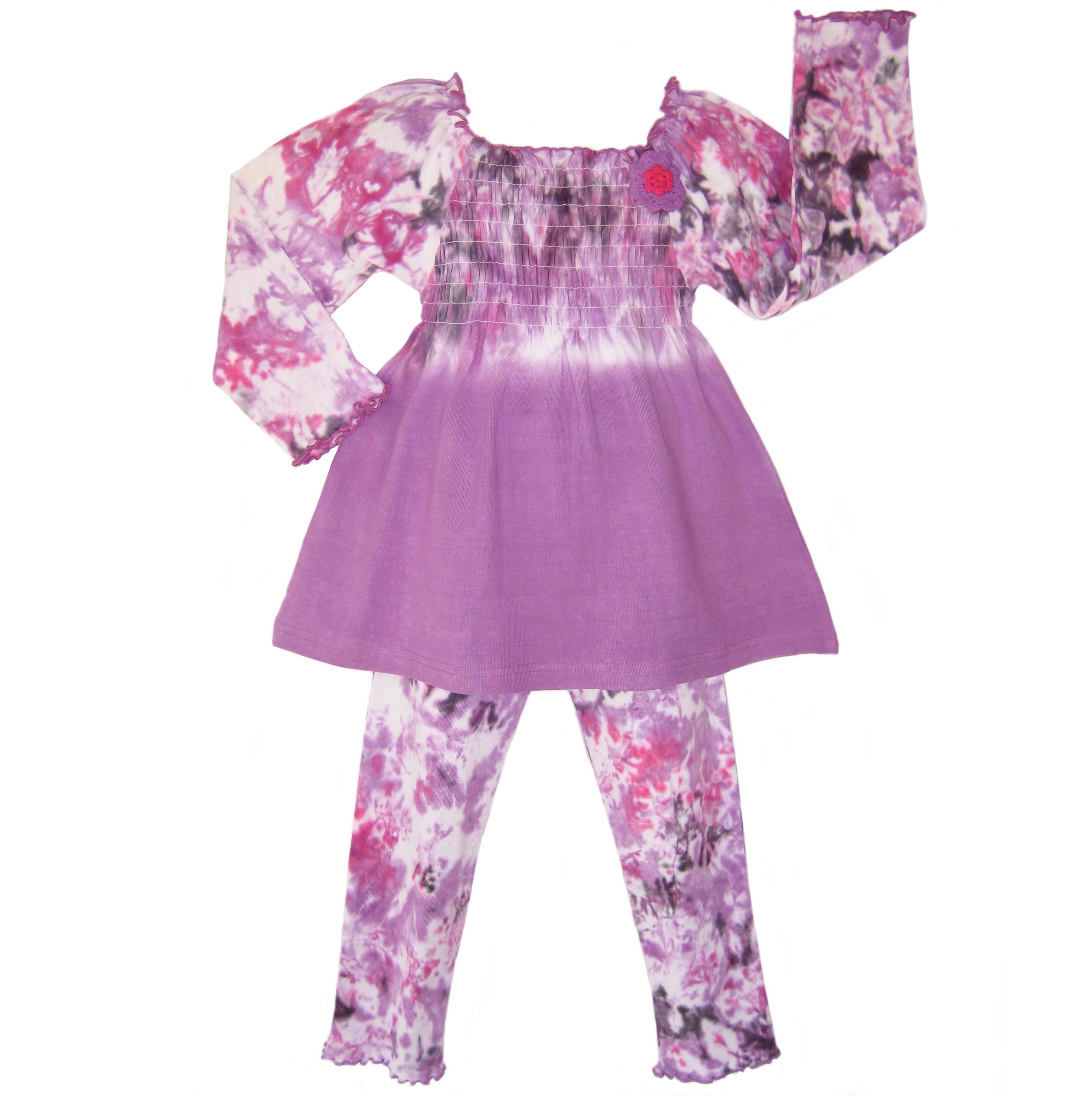 Ann Loren Girl's Purple Tie-dye 2-piece Set