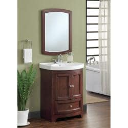 Howard Walnut Sink and Mirror Vanity Set