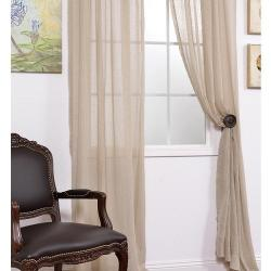 Faux Linen Tumbleweed 108-inch Sheer Curtain Panel