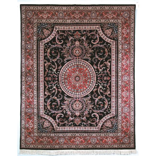 Asian Hand-knotted Royal Kerman Black and Red Wool Rug (9' x 12')