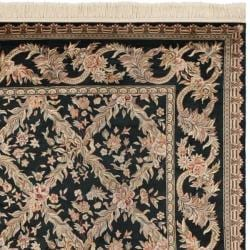 Traditional Asian Hand-Knotted Royal Kerman Black Wool Rug (4' x 6')