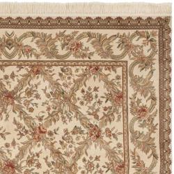 Asian Traditional Hand-Knotted Royal Kerman Ivory Wool Rug (4' x 6')