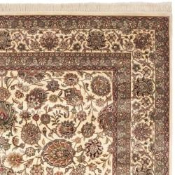 Asian Hand-Knotted Traditional Royal Kerman Ivory Wool Rug (6' x 9')