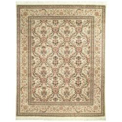 Asian Hand-Knotted Royal Kerman Ivory Wool Area Rug (6' x 9')